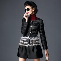 MI111919  Fashion high quality handmade pearl rhinestone buckle feather sweep down slim outerwear