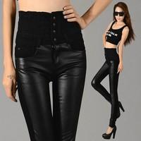 VOLFOUR 2014 New Fashion eaxy Tall waist leather legging women slim elastic waist legging patchwork PU legging FREE SHIPPING