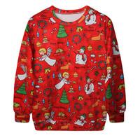 Fashion Harajuku Sweaters and Pullovers Digital Printed Sweatshirt Xmas Red Christmas Angel Snowman women's hoodies