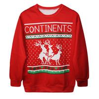 Fashion Harajuku Sweaters and Pullovers Digital Printed Sweatshirt Xmas Christmas Deer Womens Hoodies