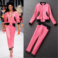 Best Grade New Fashion Autumn Winter Women Plaid Pattern Chain Patchwork Long Sleeve Pink Down Jacket+Pant(1Set)Casual Suit Pant