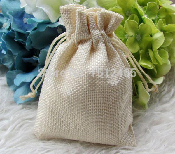 Free shipping,100pcs/lot High Quality Cream Faux Hessian Mini Bags Christmas bomboniere Wedding Gift bags 8.5x11.5cm MD06-100(China (Mainland))
