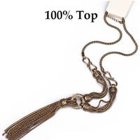 Min Order 9! Fashion Metal Alloy Tassel Long Chain Necklace for Women Sweater Coat