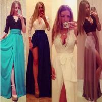 Hot New Lady Sexy Lace Bandage Party Clubwear Women Long Sleeve Maxi Long Side Slit Dress 312