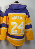 Free shipping Mens- #24 Kobe Bryant  Yellow with purple ice Authentic Ice Hockey Hoodie Jerseys USA size: M-XXL All Stitched