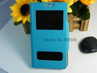newest! 5 color  double windows  flip PU  Leather case for alcatel POP C9  Bag Cover +free ship