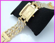 Venta caliente! GSS marca moda Cusual mujeres señora vestido reloj pulsera de doble correa de reloj de cuarzo reloj de plata dorado envío gratis