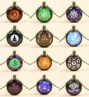 24PCS/LOT Wholesale Bronze Chain Buddha Hamsa Om Symbol Floating Charms Pendant Necklace Jewelry For Christmas Black Friday