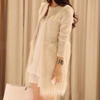 Women's Fur Decorative Long Jackets,2014 Fashion Womens Faux fur hem stitching Winter Woolen Coat/Vintage Jacket For Women S M L