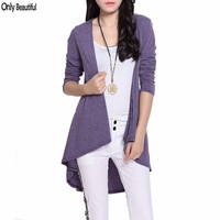 Hot Sale 2015 Woman New Fashon Cheap Clothing Women Casual Long Cardigan Purple Knitted Sweaters Coat Plus Size Free Shipping