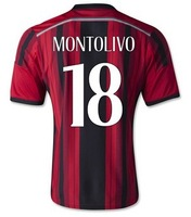 New Top! Best Thai Quality 14/15 AC Milan Soccer Jerseys T shirt 2015 #18 BALOTELLI #92 EL SHAARAWY Football Jersey