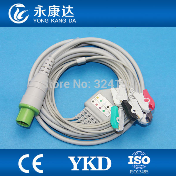High quality &best price HELLIGE One-piece 3Lead AHA,Clip ,ECG CABLE ,ECG accessories,medical cable,medical supplies(China (Mainland))