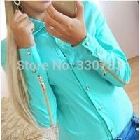 hot sale 2015 tropical roupas candy color cheap clothes china Rivets zipper woman shirt summer fashion roupas femininas blusas