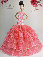 For barbie doll accessories clothes , Red Noble skirts, Evening dress / Children's gifts