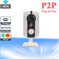 Onvif 2.0 H.264 Wireless IP Camera Network Indoor 1.0 Megapixel Mini 720P HD Support 64G TF Card