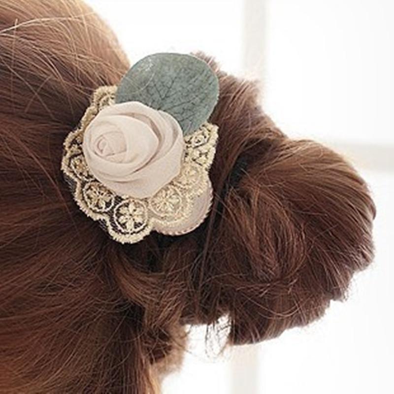 2015 Fashion Brand Girls Lace Flower Hairband Elastic Rose Scrunchy Headband Women Jewellery Hair Accessories Wholesale China(China (Mainland))