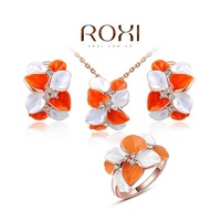 ROXI Elegant Statement Rose Gold Plated Colorful Flower Sets Fashion Earrings+Necklace+Ring Party Wedding 2014112313
