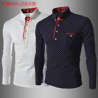 Shirts Men Fashion Dot Stylish Casual Slim Long-sleeve Shirt Size M L XL XXL XXXL Brand Shirts For Man
