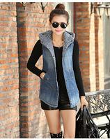 New Arrivals 2015 new winter Women Denim Vest Hooded Coat warm wool liner Waistcoat Jacket parka clothes plus size clothing