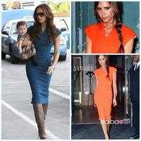 Popular European Pop Star Style Vestidos 2014 Knee Length Women Business Office Plus Size Sheath Bodycon Pencil Dress in Stock