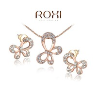 ROXI 18K Rose Gold Plated Crystal Butterfly Jewelry Sets Gift Girlfriend 100% Hand made Fashion Earrings+Necklace 2014112319