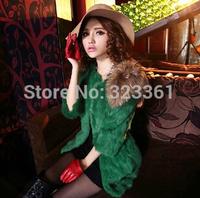 Hot!!!2014 New Fashion Women Rabbit Fur Coat  Winter Elegant Women's Faux Fur Coat  Medium-long Luxury Fur Overcoat
