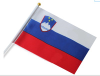 Free shipping wholesale Slovenia good quality small National flags with pole 14*21 cm