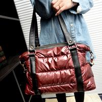 Women Handbag Winter Cotton Fashion 3 Color Woman Shoulder Bag Warm Handbags Leisure Feather Tote Russian  Style free shipping