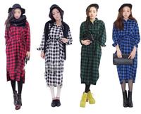 Free shipping spring and autumn girls long-sleeved plaid shirt jacket single