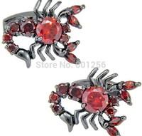 Free shipping Cufflinks novelty black scorpion design red crystal top quality rhinestone hotsale cufflinks whoelsale&retail
