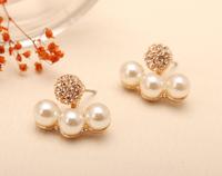 Fashion Jewelry Rhinestone Gold Women Earrings double sided Pearl Crystal Stud earrings