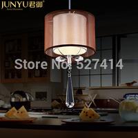 Imperial modern minimalist fabric pendant single head three crystal chandelier lighting lamps Bar Restaurant