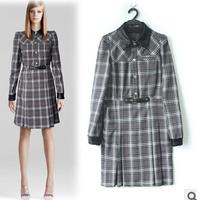 Hot Sale European Style Women Casual Autumn Long Sleeve Dresses Fashion Plaid Female Vestidos Roupas Free Shipping W1468