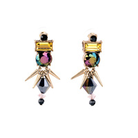 Pendientes Wholesale 2015 Sparkling Imitation Gemstone Jewelry Fashion Antique Rivet Statement Earrings for Women