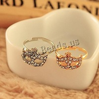 Free shipping!!!Zinc Alloy Finger Ring,DIY,Jewelry DIY, Mask, plated, adjustable & with rhinestone, mixed colors, nickel