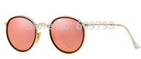 2015 Newest Top selling brand name RB3517 001/Z2 51-22 powder membrane Round Folding Flash Lenses men women sunglasses