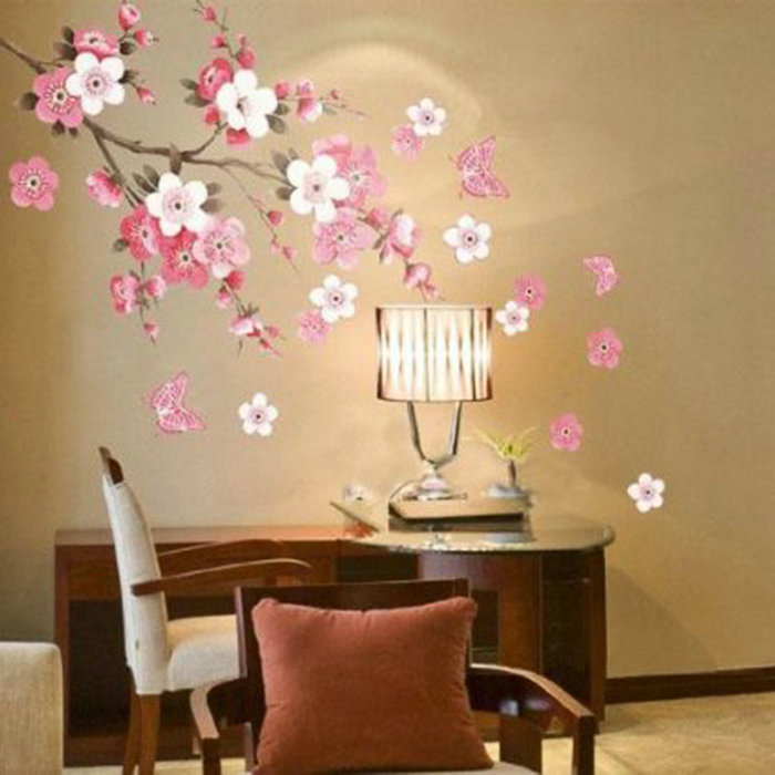 Sakura Flower Bedroom Room Vinyl Decal Art DIY Home Decor Wall Sticker Removable Stickers Transparent Poster Wallpaper(China (Mainland))