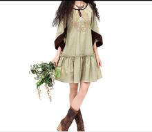 Envío gratis del estilo japonés mori girls étnico bordado del vestido del diseño original vestidos boho hippie festival del traje vestido vestidos(China (Mainland))