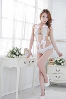 Sexy lingerie Teddies & Bodysuits hot open crotch Camisolas de Dormir Fantasias Eroticas Teddy underwear women White Bow