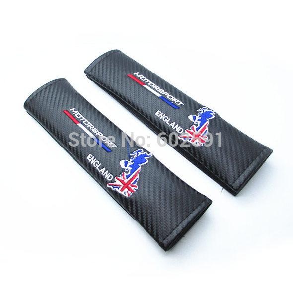 2pcs Black Car Carbon Fiber Seat Belt Shoulders Pad Truck Cover UK British ENGLAND Motorsport(China (Mainland))