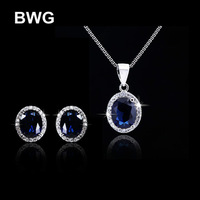 BWG Fashion Jewelry Pendant Necklace Stud Earring Jewelry Set Blue Cubic Zirconia Silver Plated Jewelry For Wedding TZ1010
