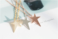2014 Gold Silver fashion Jewelry Tiny Pentagram Charm Necklaces for Women