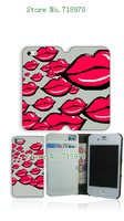 2014 popular style lip kiss Luxury Flip cover with card holder leather case for iPhone 5S 5 Free shipping