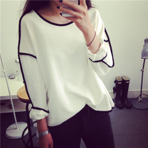2015 New Trends All-match Sweatshirt Geometry Design Loose And Long Sleeve Winter Sweatshirt Women Hoody 3 Colors(China (Mainland))