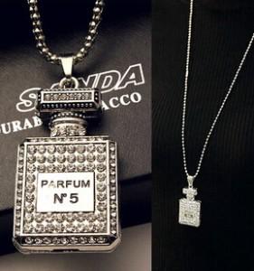 2014 new design fashion luxury jewelry imitation diamond necklace vintage perfume bottle women sweater chain Free shipping(China (Mainland))