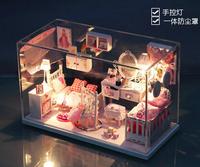 Christmas Gift DIY Doll House Model Building Kits Handmade 3D Miniature Wooden Dollhouse Toy