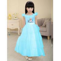 Frozen Baby robe Mesh Girls Layer Dresses Elsa cute ball gown Princess long summer dress 5pcs/lot T73