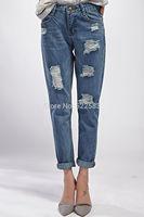 New design fashion autumn winter loose hole capris 2014 denim jeans womens ripped denim jeans womens