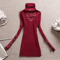 Brand new 2014 fashion Great quality winter female slim turtleneck sweater basic long-sleeve shirt free  shipping
