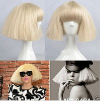Sexy LADY GAGA  white  full fluffy wig with bang no lace front wigs Synthetic girl women Hair Wig  Free shipping
